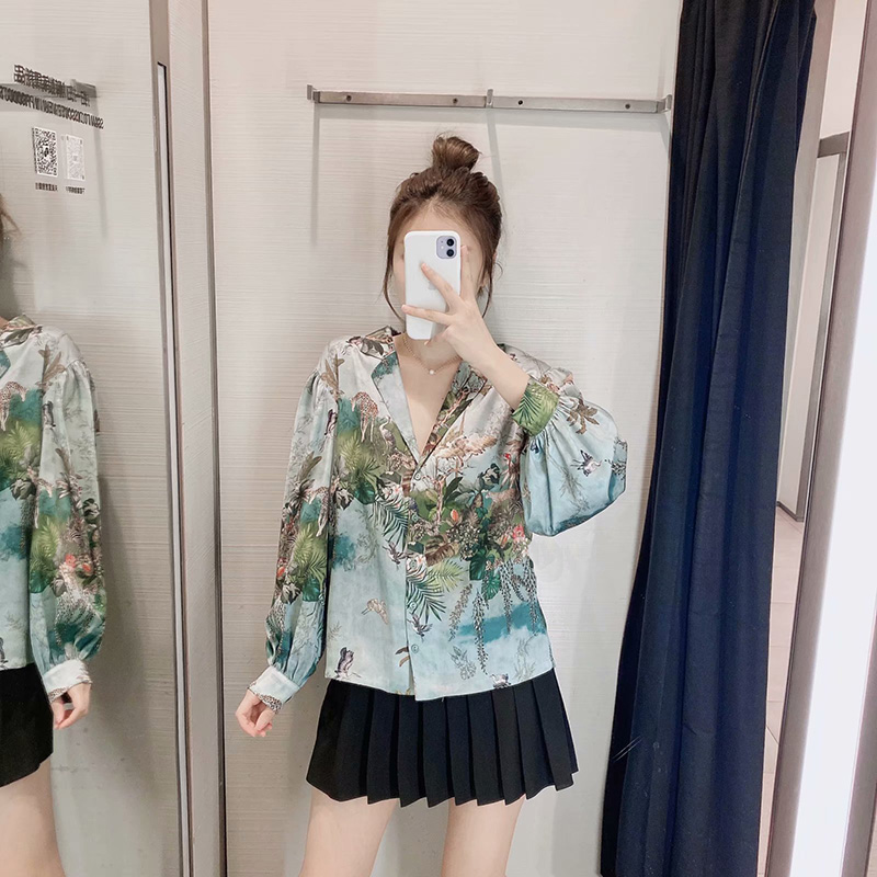 Aachoae Women Casual Floral Print Satin Blouse Casual Loose Tops Ladies Turn Down Collar Lantern Long Sleeve Vintage Shirt Blusa 2