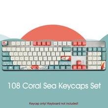 108 Keycaps seti XDA PBT klavye boya süblimasyon mercan deniz GK61/ördek/Womier kiraz MX anahtarları mekanik klavye