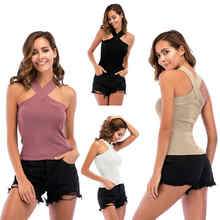 Fashion Sleeveless Camisole T-Shirt Autumn Cross Hanging Neck Strap