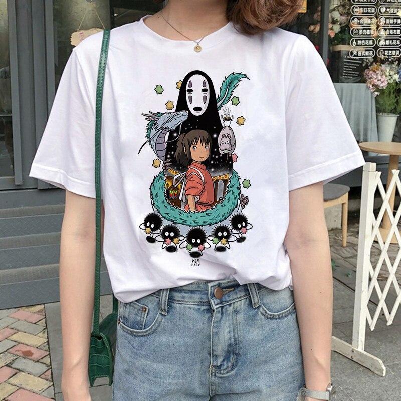 New Top Women's T-shirt Totoro Harajuku T-shirt Women Studio Ghibli Kawaii T-shirt Miyazaki Hayao Funny Cartoon T-shirt Cute Top