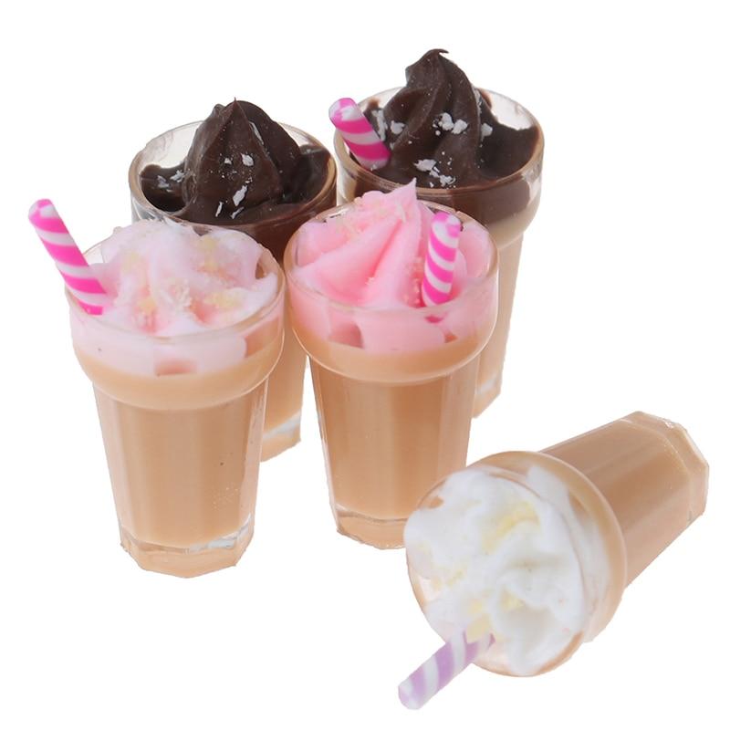 1:12 Dollhouse Miniature Scene Model Drink Pretend Play Simulation Strawberry Milkshake Doll House Accessories Kids Toy