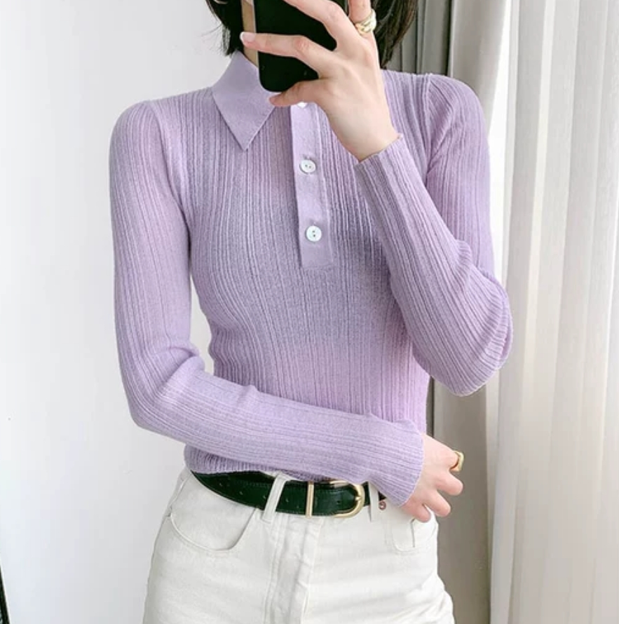 Women Sweater Polo Collar Long Sleeve Slim Solid Color Shell Button Knitted Bottoming Sweater 2020 New