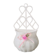 Home Decor Artificial Rattan Sundries Organizer Wall Hanging Vase Storage Flower Basket Living Room Party Handmade Random Color(China)