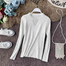 NiceMix Autumn Women Sweater Beaded Pullovers Hollowed Out Casual Knitwear Solid Sweaters Pull Femme Hiver