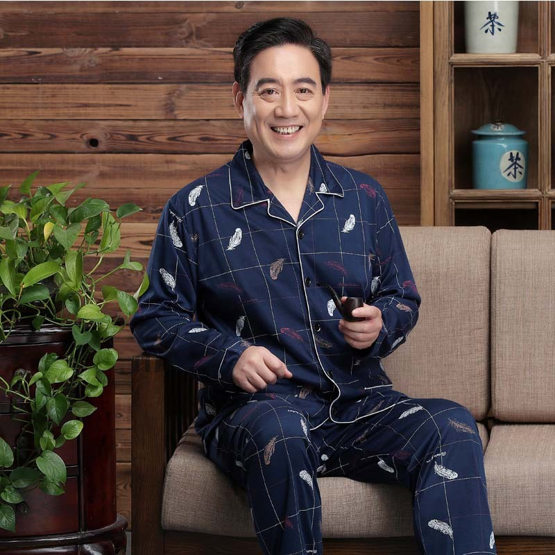 2020 Onesie Men And Autumn Thin Type, Korean Version, Middle-aged Old People's Cardigan, Home Clothes Suit Can Be Worn Outside