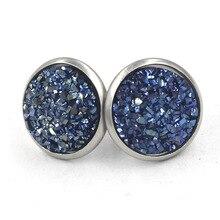12mm stainless steel ear accessories simple Sky Star round Earrings original design handmade