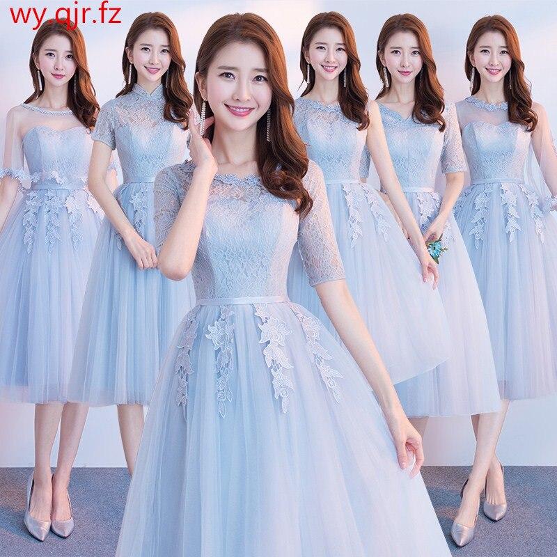 JYX79Y#O-Neck Half Sleeve Lace Up Medium Long Burgundy Gray Bride's Bridesmaid Dresses Wedding Party Prom Dress 2019 Wholesale