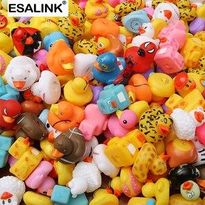 Image 1 - ESALINK 100PCS 목욕 장난감 무작위 고무 오리 멀티 스타일 오리 아기 목욕 욕실 물 장난감 수영장 부동 장난감 오리