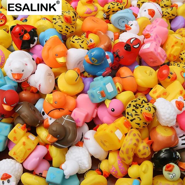 ESALINK 100PCS 목욕 장난감 무작위 고무 오리 멀티 스타일 오리 아기 목욕 욕실 물 장난감 수영장 부동 장난감 오리