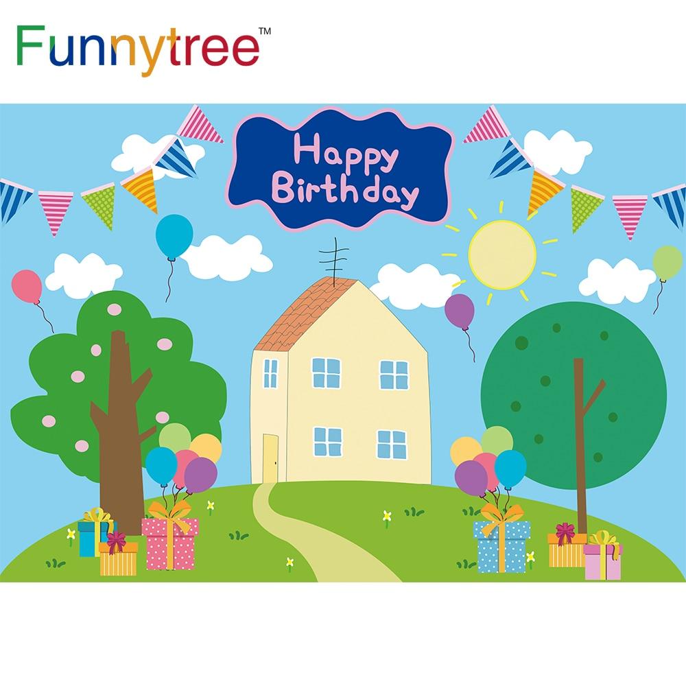 Funnytree фон с изображением мультипликационной свинки, Baby Shower вечерние голубое небо воздушный шар в форме дерева с облаком травой и детский под...