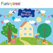 Funnytree aniversário fundo dos desenhos animados porco chá de fraldas festa céu azul árvore balão nuvem grama crianças presente pano de fundo foto banner