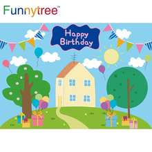 Funnytree Fondo De Cumpleaños cerdo de dibujos animados fiesta de Baby Shower globo de árbol de cielo azul hierba de nube regalo para niños Fondo foto Banner