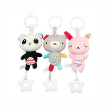 Kuulee Infant Teether Hanging Rattle Toy Cute Bear Rabbit Music Infant Carriage Bed Hang Plush Toy music Teether hanging rattle