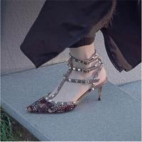 High Heel Shoes Women Pumps Hallow Sandals 6 8 10cm Lady Shoes Straps Rivets Decor Print Pattern Chaussures Femmes Zapatos Mujer