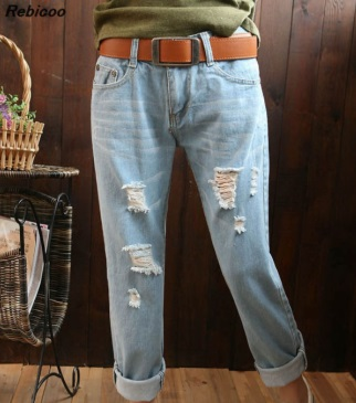 2019 new ladies casual jeans boyfriend denim retro torn tight fitting pencil plus size Harlan high waist pantants calca feminina in Jeans from Women 39 s Clothing