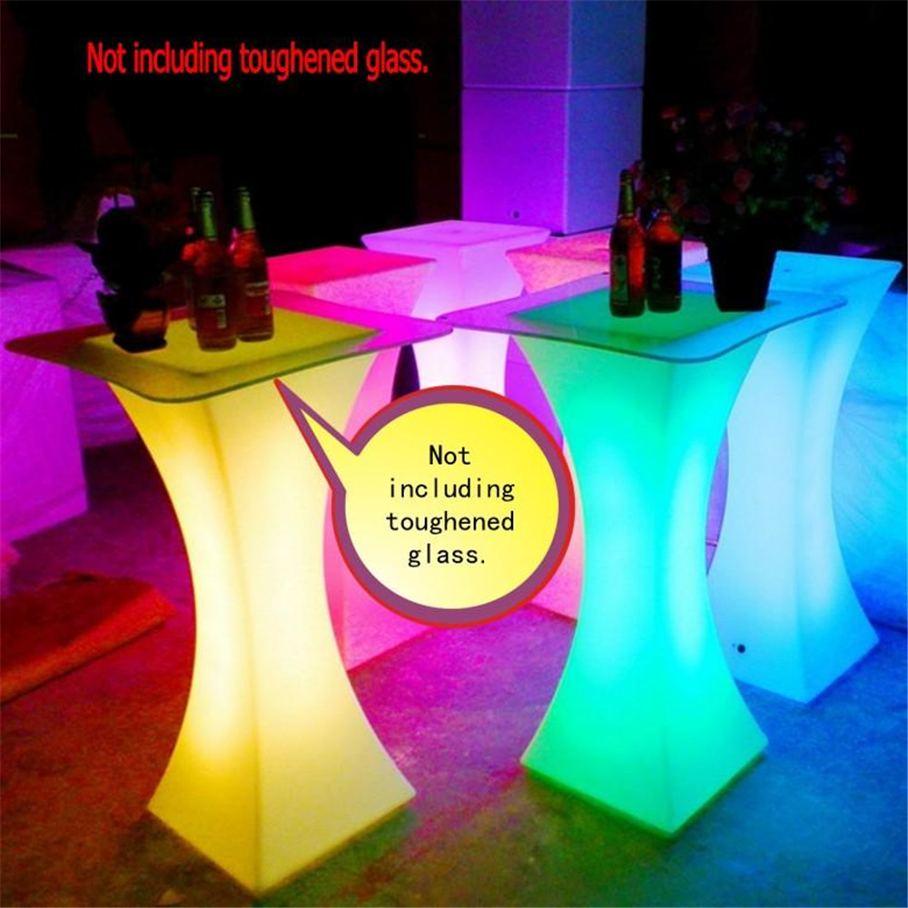 Quality Rechargeable LED Luminous Cocktail Table Ip54 Waterproof Plastic Coffee Table  Remote Control Color Bar Table Set