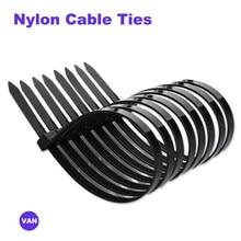 100 pçs plástico reusável cabo laços 8*150/200/250/300/350/400/450/Polegada releasable náilon pode solto slipknot reciclar alta qualidade