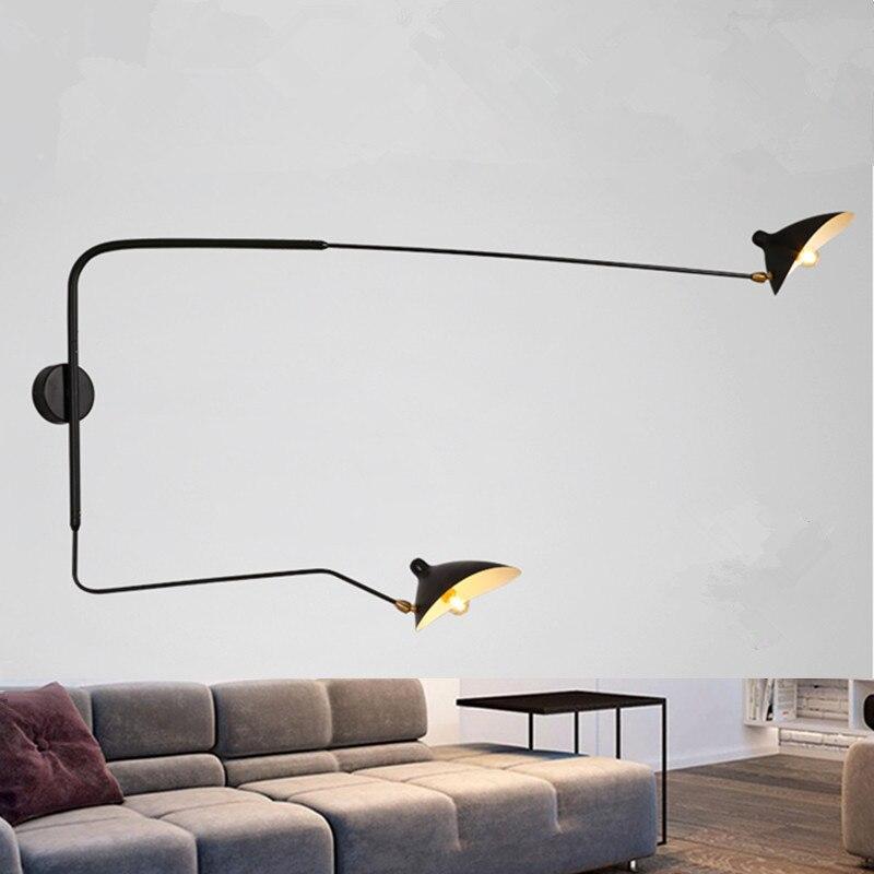 Nordique noir Double tête applique murale rotatif bec de canard fer abat-jour applique murale décor à la maison 110-240V