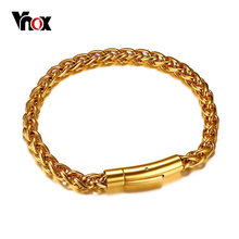 Vnox 6mm Top Quality Stainless Steel Spiga Wheat Chain Link Bracelet for Men Gold Color Closure Punk Hip hop Rocky Male Jewelry(China)