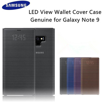 100% Original Samsung Galaxy NOTE 9 LED Smart VIEW Cover Wallet Flip Case Auto Sleep Standing Leather Cover EF-NN960PBEG аксессуар чехол книжка samsung galaxy note 9 clear view standing cover violet ef zn960cvegru