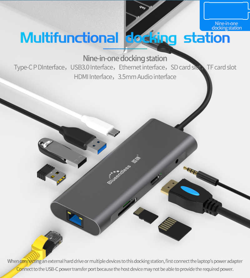 Tipo-Tipo C Docking Station-C Huawei XiaoMi Hub USB Hub Para Macbook DELL Superfície Lenovo Doca USB 3.0 HDMI TF USB Hub LAN PD