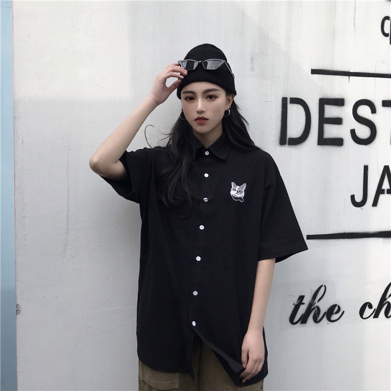 Japanese Harajuku Graffiti Cat Cartoon Print Woman Blouse 2020 Spring Summer Hip Hop Styly Vintage Black Lady Loose Shirts Tops