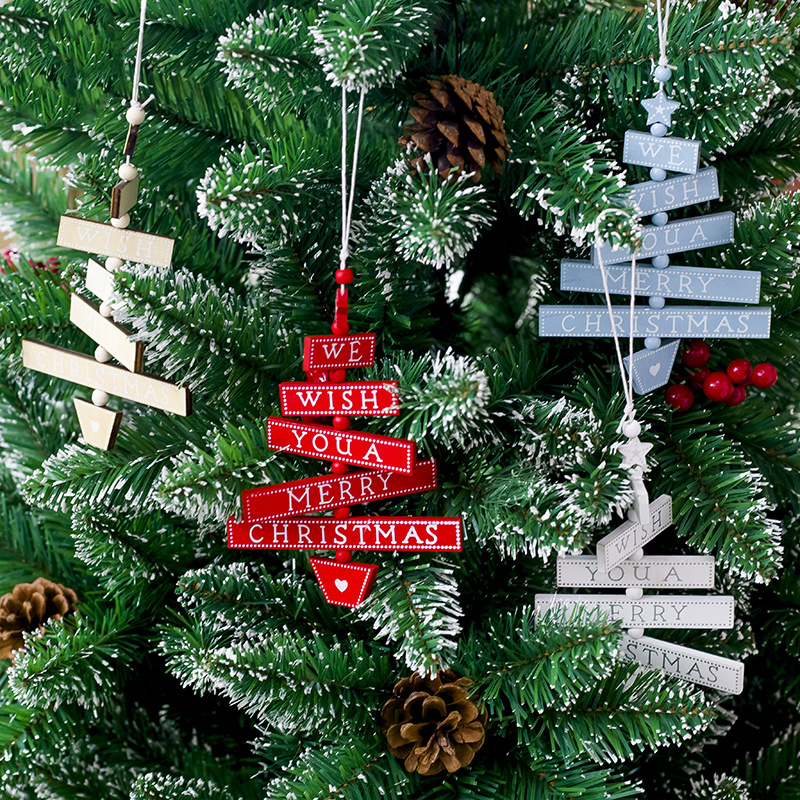 Creative Christmas Decoration Articles Wood Plate Hanging Painted Alphabet Tree Decorative