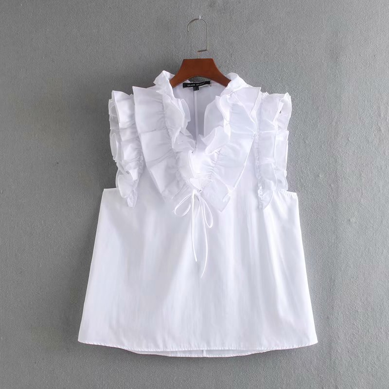 New Women Cascading Ruffles White Poplin Casual Smock Blouse Ladies Chic Lace Up Sleeveless Chemise Femininas Shirts Tops LS6383