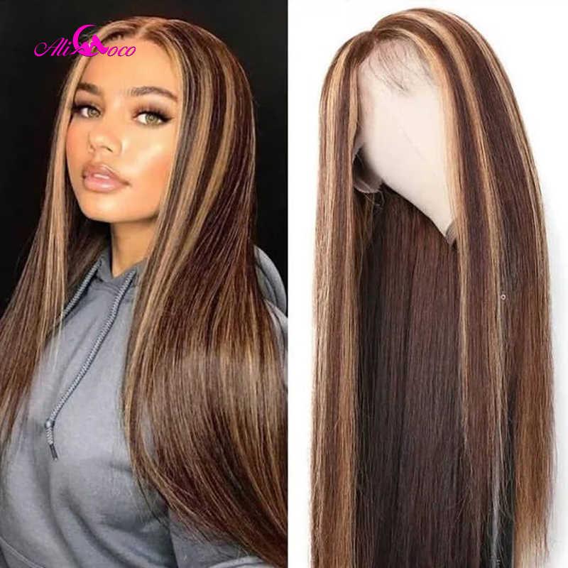 Ali Coco #4/30 Highlight Gekleurde Menselijk Haar Pruiken Pre Geplukt Lace Front Menselijk Haar Pruiken Ombre Remy Frontale Pruik voor Zwarte Vrouwen