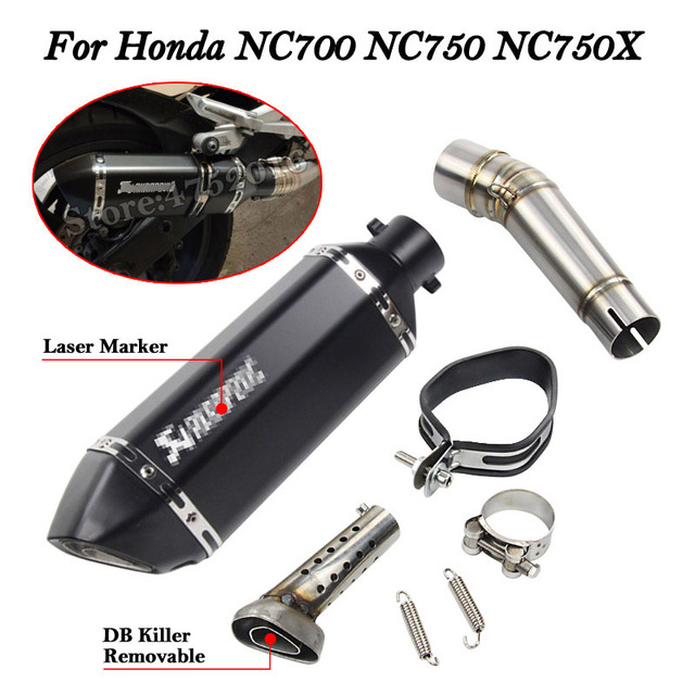 5 Color Slip on for Honda NC700 NC750 NC750X Exhaust Motorcycle Muffler with Middle Connection Link Pipe Stainless Steel