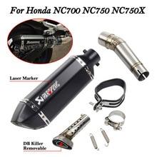 5 couleurs sans lacet pour Honda NC700 NC750 NC750X échappement moto silencieux avec raccord moyen tuyau en acier inoxydable