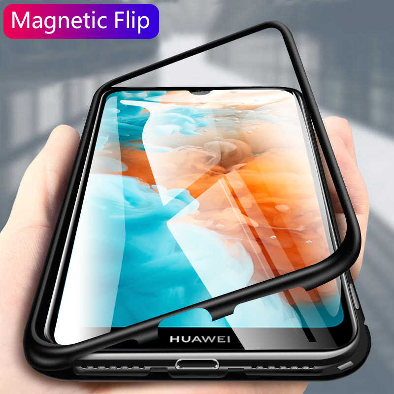 Metal Magnetic Adsorption Glass Case For Huawei P30 P20 Lite Pro Mate 20 10 Nova 3i 3 3E 4 4E 5 5i Pro Phone Case Cover Coque