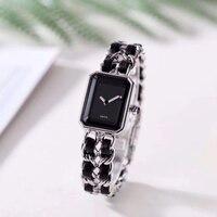 Luxury Brand square watch stainless steel band Watch Rectangle Quartz Wrist watch Clock Women real boyfriend accessories