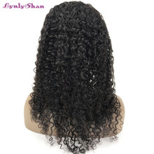 Lynlyshan Human Hair Wigs Brazilian Curly Hair 13*4 Lace Front Wig With Baby Hair 10-28 Inch Remy Hair Black Color Free Shipping(China)