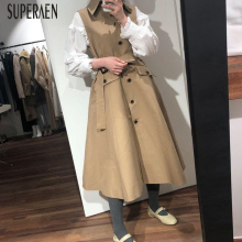 SuperAen Korean Style Sleeveless Trench Coat for Women Lapel Single Breasted Aut