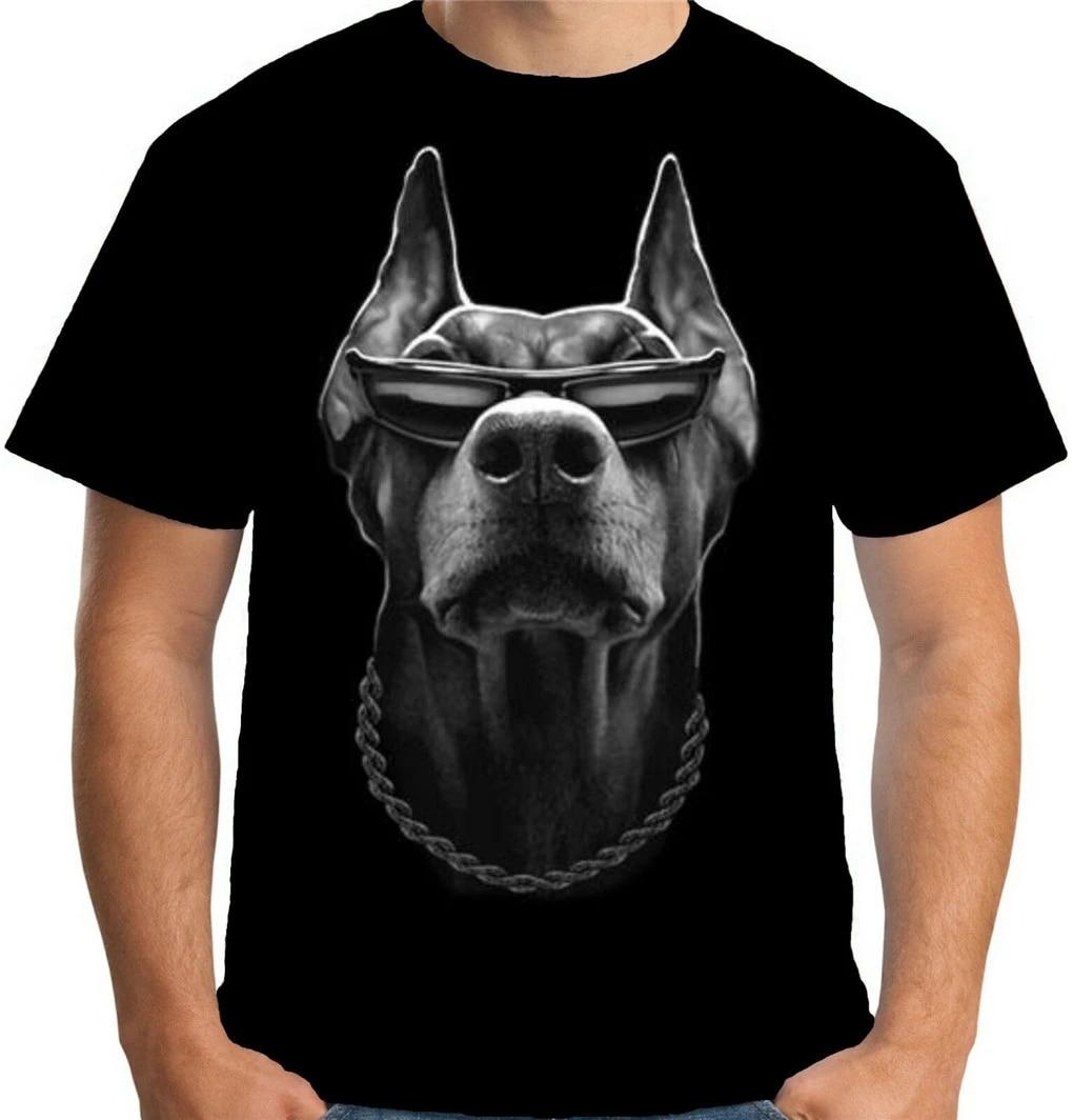 Mens Cool Doberman T Shirt Gangster Mob Thug Dog Mafia  Biker