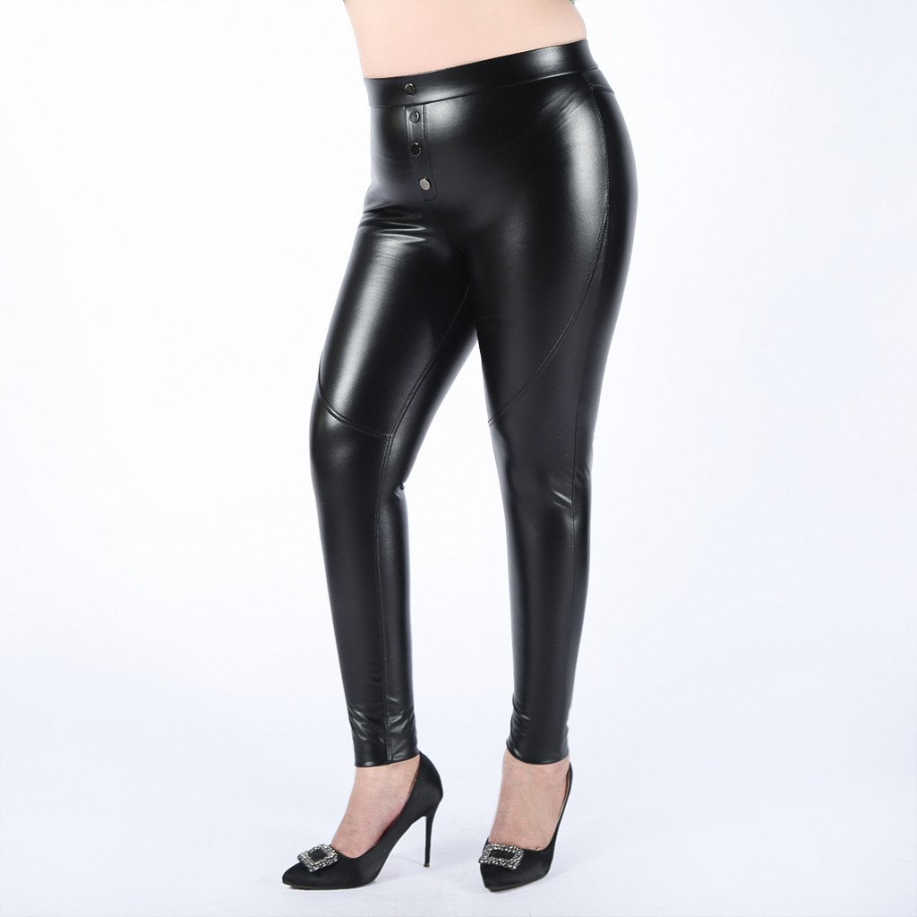 Plus Size 5xl Autumn Casual Leather Pants Lady Hot Slim Pu Leather Stylish Zipper Fashion Pencil Skinny Trousers For Woman#J30