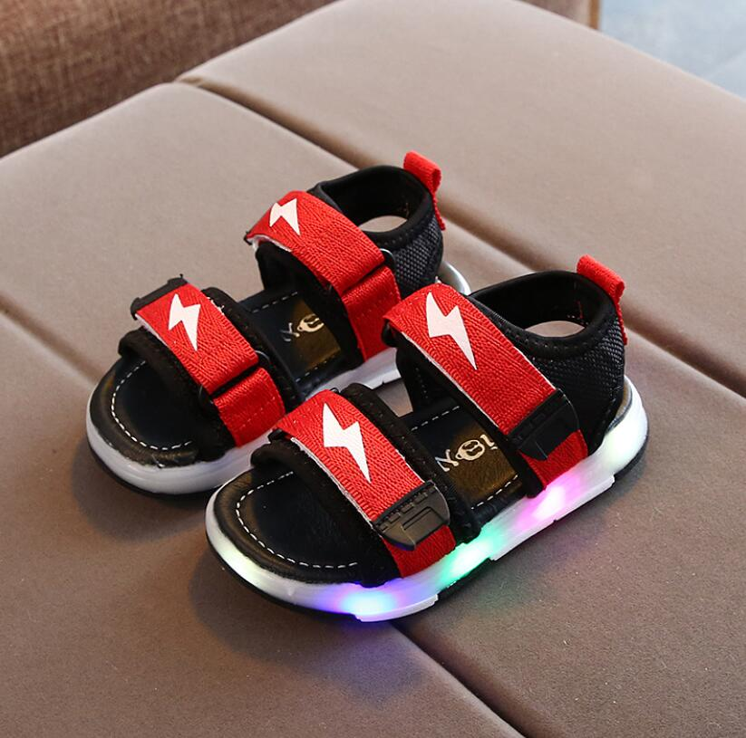 LED Light up Shoes Kids Girls Boys Breathable Flashing Slip-On Sandals Green 22//5.5/M/US/Toddler
