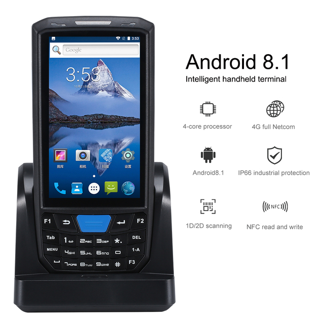 PDA 80T Portable PDA Android Terminal Honeywell Barcode Scanner 1d Laser 2d QR Handheld Data Collector Device with WIFI 4G NFC