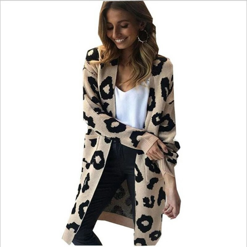 HELIAR Women Leopord Cardigans Knitted Sweater V-Neck Sexy Sweaters And Cardigans Elegant All-Match Jackets