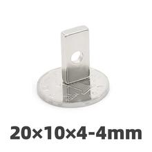 AGMA 10pcs 20x10x4mm Hole 4mm N35 Strong Block Neodymium Magnet Ring Block Rare Earth Magnets20 * 10 * 4mm 4 Hole 5mm