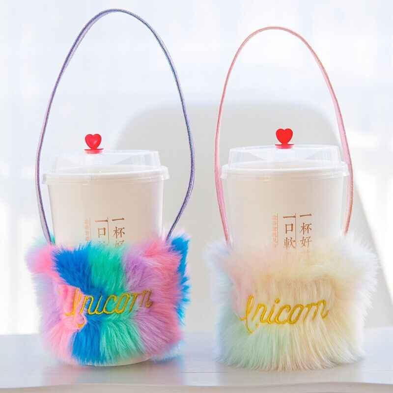 Bentoy Milkjoy 虹カップスリーブハンドかわいい韓国女の子子供キッズファニーぬいぐるみコイン財布