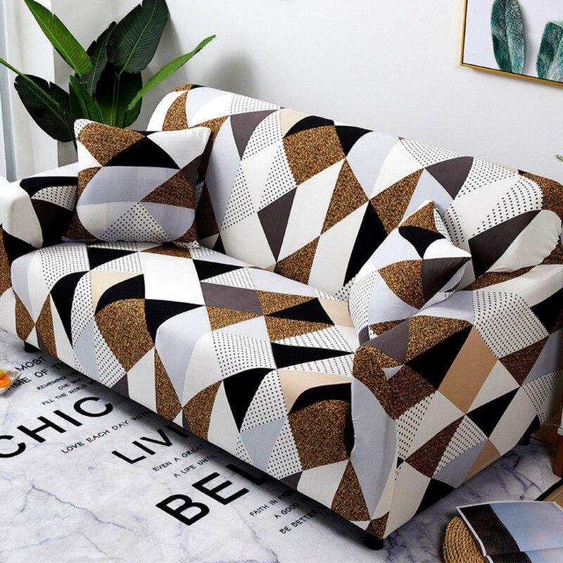 Universal Elastic sofa cover geometric stripe sofa cover pet anti skid L shaped living room cover