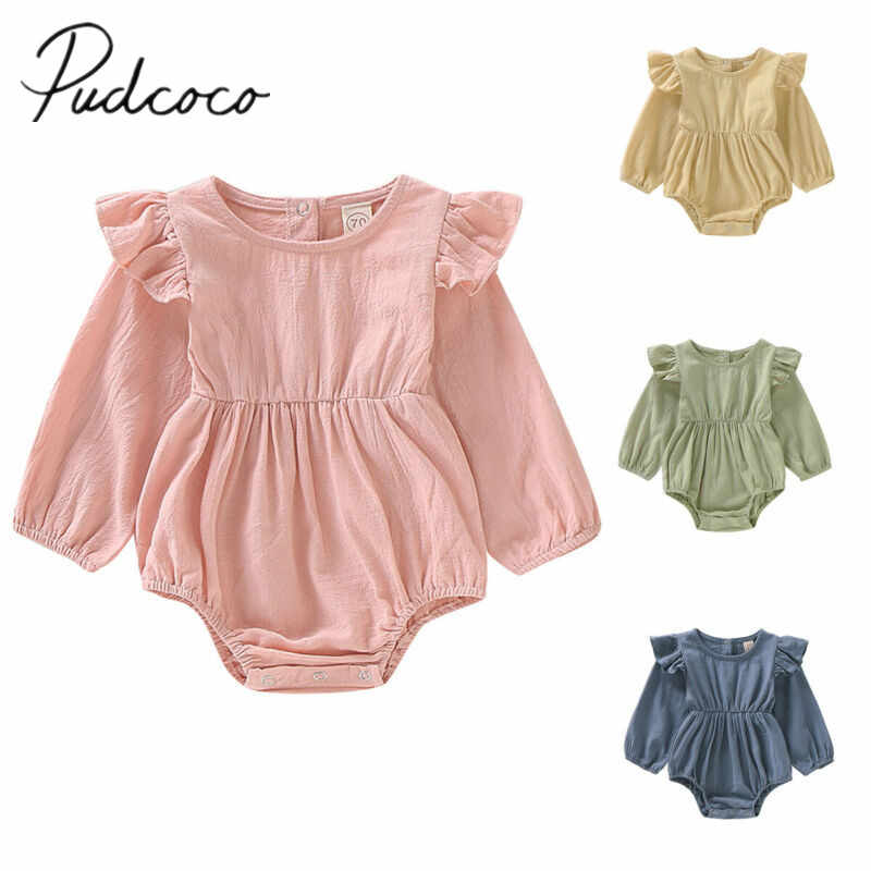 2019 Baby Spring Autumn Clothing Newborn Infant Baby Girls Solid Color Bodysuit Ruffled Long Sleeve Jumpsuit Playsuit Clothes