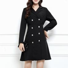 M-4XL 2019 New Large Size V Neck Office Lady Dress Autumn Black Casual Slim Women Work Plus size Button A Line Suits