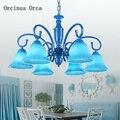 Креативная люстра из синего стекла в средиземноморском стиле для гостиной  столовой  спальни  в европейском стиле  с пасторальным рисунком  ...