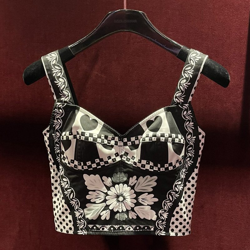 High Quality Women's Top Runwayblack And White Polka Dot Love Flower Print Sexy Backless Patchwork Jacquard Bustier Top