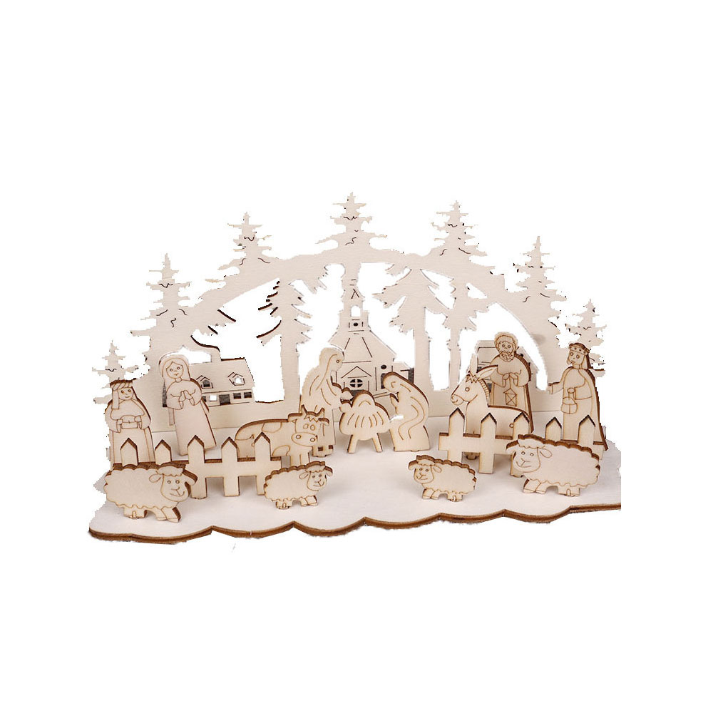 DIY Christmas Wooden Toy Xmas Funny Party Desktop Decoration Christmas Wooden Ornaments Three-dimensional Kids Toy Decoration 19