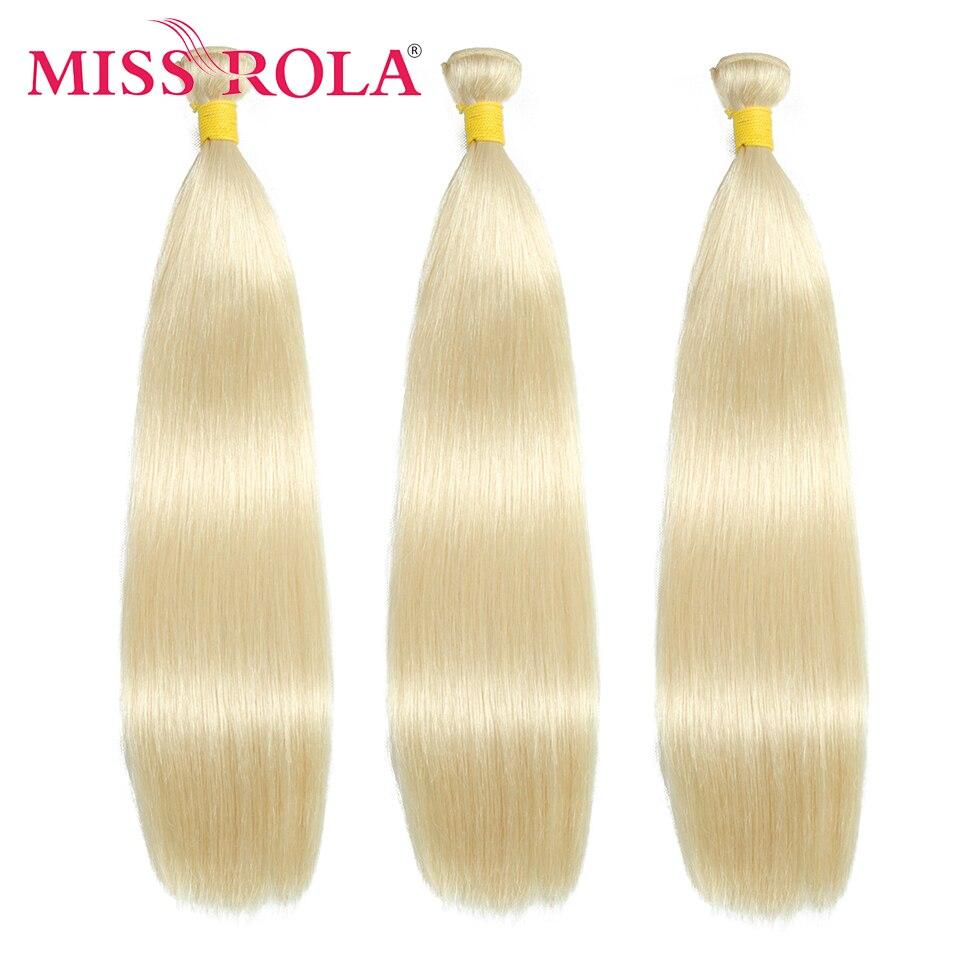 Miss rola tecer cabelo humano em linha reta 1/2/3/4 pacotes 613 mel blondon remy extensões de cabelo duplo tramas para senhoras