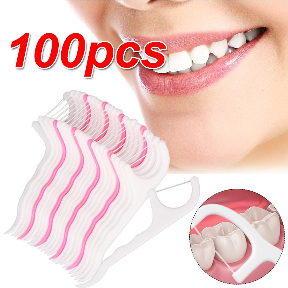 100 Pcs Floss Oral Care Teeth Cleaner Dental Floss Flosser Brush Tooth Picks Oral Care Teethpick Sword Health & Beauty Tools
